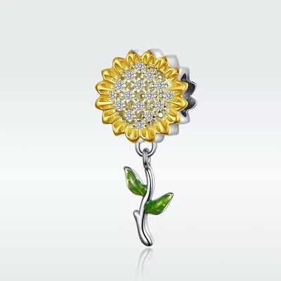 AU28.50 • Buy SUNFLOWER S925 Sterling Silver Charm By Pandora's Kings