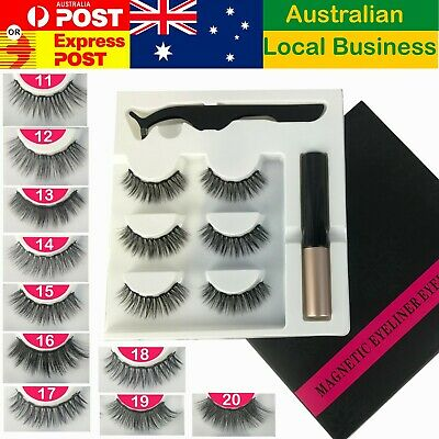 AU14.95 • Buy Magnetic False Eyelashes Natural Eye Lashes Extension Liquid Eyeliner Tweezer