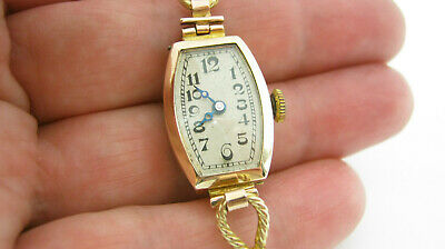 Antique 1920's 9ct Gold Bravingtons 15 Jewel Watch & 9ct Gold Mesh Style Strap • 325£