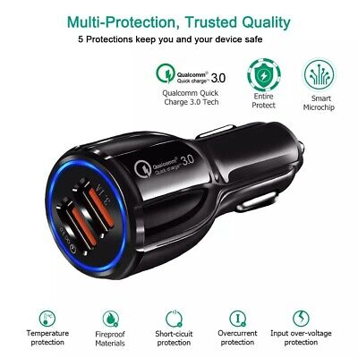AU8.99 • Buy Quick Charge 3.0 In Car Charger 2 Ports USB Qualcomm QC Fast Charging - 2020