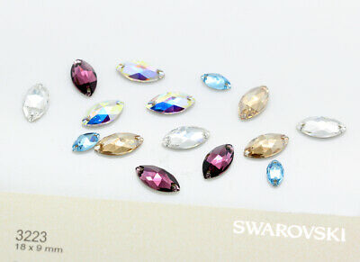Genuine SWAROVSKI 3223 Navette Sew-On Stones Crystals * Many Colors • 2.19£