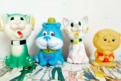 $24.61 • Buy Vintage Rubber Squeak Toy Character Lot Of 4 Cat Dog Lion Edward Mobley Style