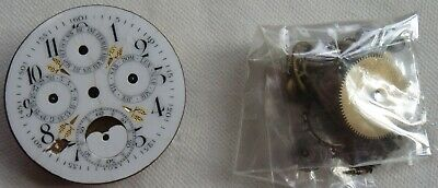 £113.58 • Buy Triple Date & Moon Phase Pocket Watch Movement & Enamel Dial For Parts