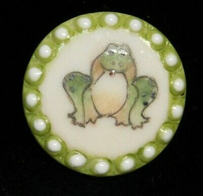 $2.99 • Buy Vtg Collectible Button Hand Painted FROG On Ceramic NICE! #D18