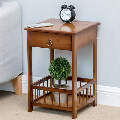 AU51.93 • Buy 2/3 Tier Bamboo Bedside Tables Drawer Sofa Table Cabinet Bedroom Nightstand Lamp
