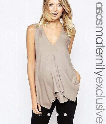 AU30 • Buy ASOS Maternity NURSING Woven Tank With Overlay Size 18 Taupe