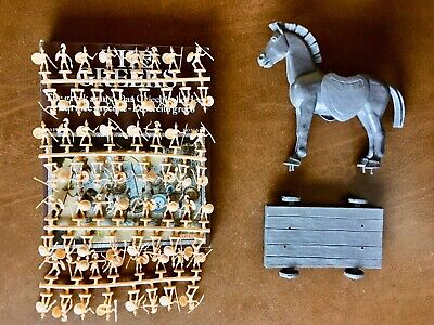 $40 • Buy Atlantic HO Scale Trojan Horse + Box Of 64 Greeks Army Figures