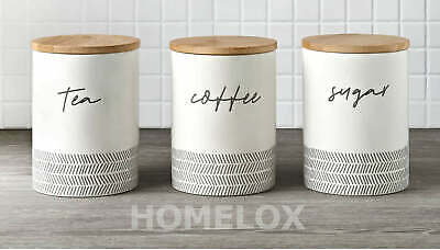 £17.40 • Buy Set Of 3 Tea/Coffee/Sugar Canisters With Bamboo Lid Storage Jars-Kitchen Decor
