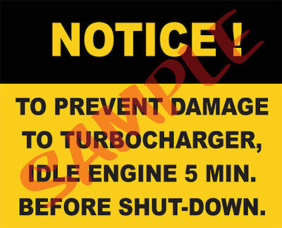 $6.75 • Buy Notice To Prevent Turbo Damage Idle Engine Sticker For Military Vehicles M35A2
