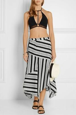 $75 • Buy ZIMMERMANN Ticking Striped Linen And Cotton Wrap Midi Skirt 1 Small S
