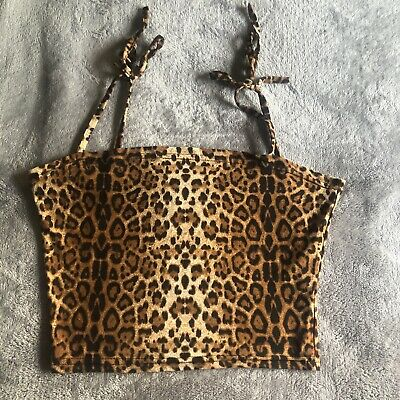 Tie String Leopard Print Crop Top SIZE Small NEW Condition • 10£