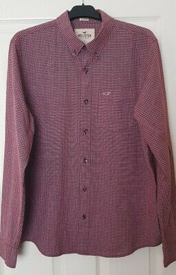 Hollister Long Sleeved Checked Shirt Size L, Red Burgundy/maroon Colour • 3£