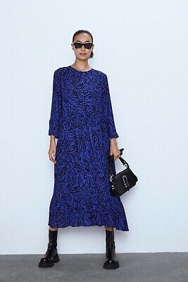 $43 • Buy $70 Zara ANIMAL PRINT DRESS-Blue-ref 0034/244-size XS,S,M,L, XXL-NWT