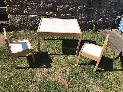 Kids Childs Wooden Table & 2 Chairs Set Playhouse Role Play Crafting Home School • 25£