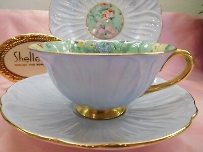 Shelley MELODY CHINTZ  FOOTED OLEANDER  CUP, SAUCER AND 7  PLATE  -  GOLD TRIM   • 227.82£