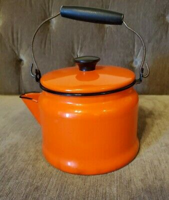 $16 • Buy Vintage Enamel Metal Orange And Black Teapot/ Water Coffee Kettle Wooden Handle