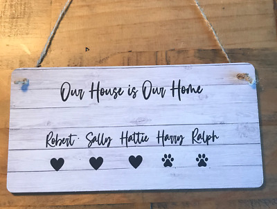 £5.99 • Buy Family Plaque Home Gift Idea New House Warming Sign Shabby Chic Personalised