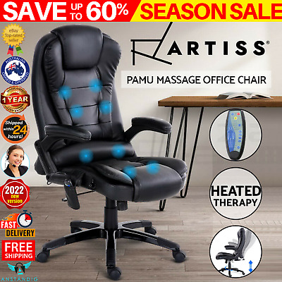 AU167.97 • Buy Artiss Massage Office Chair Gaming 8 Point Heated Chairs Computer Chair Black