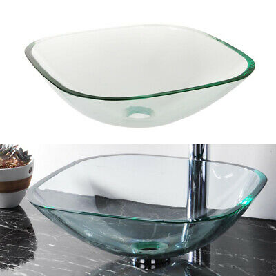 £39.90 • Buy 420mm Basin Sink Modern Square Tempered Glass Bowl Mounted Countertop Bathroom