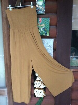 AU15 • Buy American Eagle Mustard Strapless Wide Leg Jumpsuit. Nwt⭐️🌞