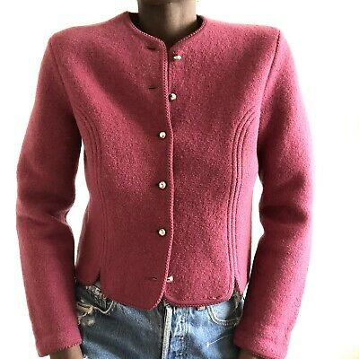 $45 • Buy Geiger Austria Boiled Wool Cardigan Sweater Jacket Brass Plum Pink Size Medium