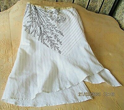 Quirky Multi Length White Skirt By ST MARTINS Size 10 -12 Stripe & Chain Stitch • 7.69£