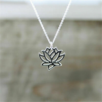 $ CDN2.52 • Buy Charm Lotus Flower Pendant Necklace Hollow Flower Chain Collares Jewelry Gift