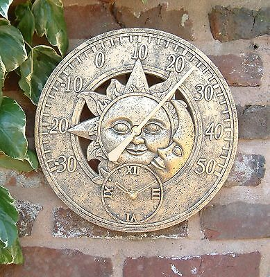 £18.45 • Buy Outdoor Indoor Garden Wall Station Clock Thermometer 12 Inch Sun And Moon Ds1036