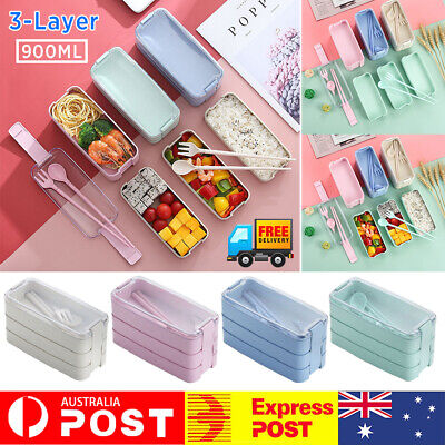 AU16.31 • Buy 3-Layer 900ml  Bento Box Students Lunch Box Eco-Friendly Leakproof Food Contain