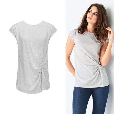 AVON Ladies Womens Grey Short Sleeve Top T Shirt Knot Tie Front Size 10 12 14 16 • 5.99£