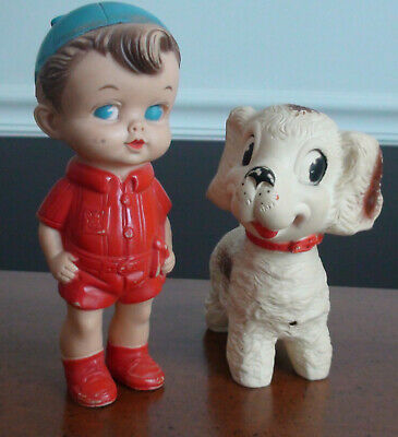 $18 • Buy Set Vintage 1958 Edward Mobley Rubber Puppy Dog And Boy In Red