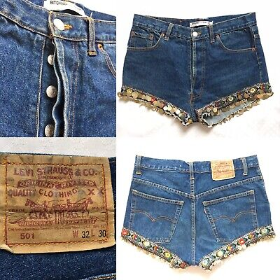 RARE Vtg Levis 501 Bitching And Junkfood X Topshop Blue Denim Shorts M 32 Inches • 40£