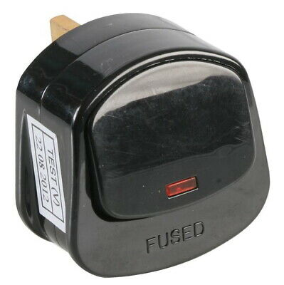 Mains Plug Top With On/Off Switch 13A Amp Fused 3 Pin Switched Neon Light Black • 3.43£