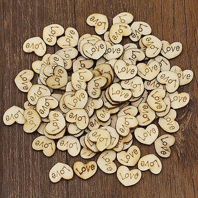 50 X Wooden Love Hearts - Craft Scrapbook Card Embellishments Decoration Charms • 2.15£