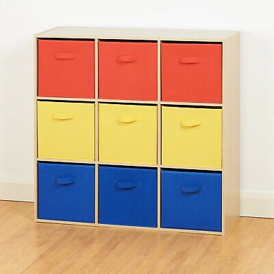 Oak 9 Cube Storage Unit Red Yellow & Blue Boxes Children/Kids Bedroom Toy Basket • 59.99£