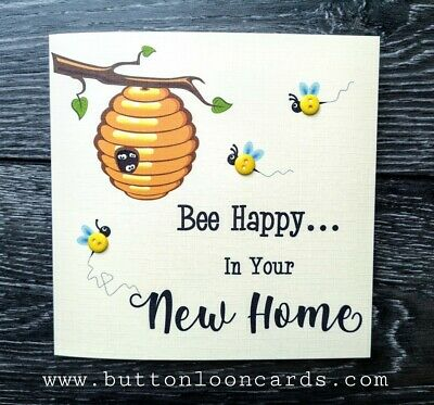 Handmade & Personalised Button Card - Bee Happy In Your New Home • 3.70£