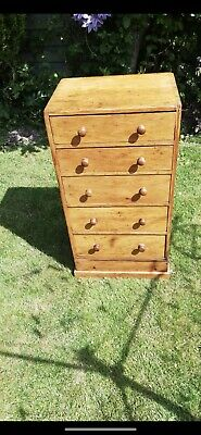 Small Antique Victorian Pine Chest Of Drawers. Collector's Cabinet - Lingerie • 195£