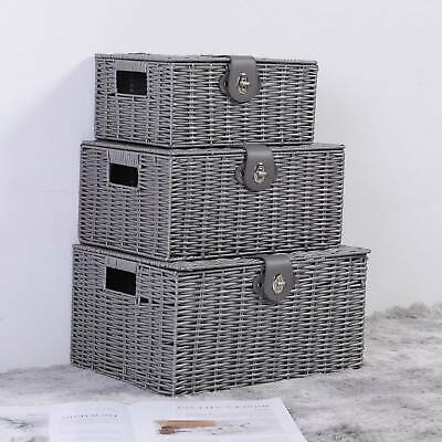 Grey SET OF 3 Resin Wicker Woven Hamper Box Home Storage Baskets With Lid Lock • 18.99£