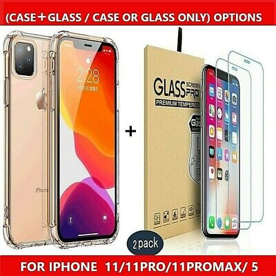 Case+Screen Protector Tempered Glass For IPhone 11 PRO MAX XR X XS MAX 8 Plus 5  • 2.99£