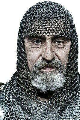 $50.21 • Buy HALLOWEEN Chainmail Round Butted 10 Mm Costume Steel Oil Medieval Hood LARP
