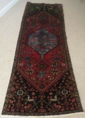 Antique Hand Knotted Middle Eastern Wool Rug. 210cm X 81cm • 50£
