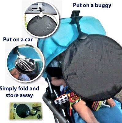 Sun Shade Parasol UPF50+ My Buggy Buddy Fits Car & Buggy Bugaboo Icandy Fits Any • 8.99£