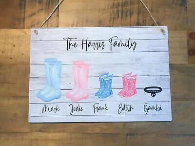 £7.99 • Buy Family Plaque Home Gift Idea New House Warming Sign Shabby Chic Personalised
