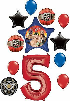 WWE Party Supplies 5th Birthday Balloon Bouquet Decorations • 18.99£