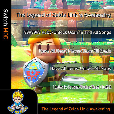 $30 • Buy The Legend Of Zelda Link  Awakening(Switch Mod)- Max Ruby/Shells/Items/Outfit