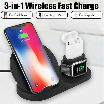 AU30.49 • Buy 3 In1 Qi Wirless Charger Charging Dock Pad Stand For IWatch IPod IPhone 11Pro XR