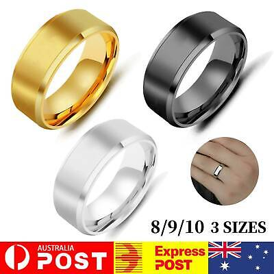 AU4.99 • Buy 8mm Polished Titanium Steel Men Women Wedding Ring Comfort Band Collections