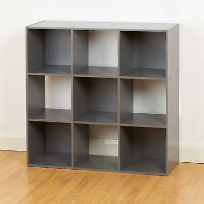 Grey 9 Cube Storage Unit Cabinet Childrens/Kids Bedroom Bookcase Toy Box Shelves • 56.99£