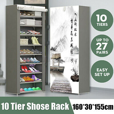 AU24.43 • Buy Portable 10 Tier Shoes Cabinet Storage Organizer Shoe Rack Wardrobe With Cover