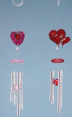 £3.99 • Buy HEART GLITTER WIND CHIMES, RED OR PINK, SHED OR ANYWHERE 28CM X1